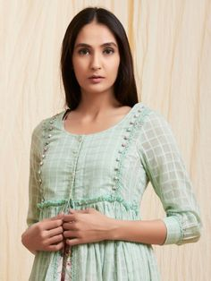 Multicolor Floral Printed Cotton Dress with Mint Green Mulmul Jacket - Set of 2 Sleeves Designs For Dresses, Dress Neck Designs, Blouse Designs, Simple Kurti Designs, Kurta Designs Women, Kurta Neck Design, Indian Designer Suits, Kurti Designs Party Wear, Pakistani Dress Design