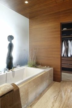 Planter at tub base and wood wall. Apartment near the park - contemporary - bathroom - Exit - Interior design