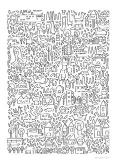 Creative Neighborhood, II, Print, Judykaufmann, and Etsy image ideas & inspiration on Designspiration Doodles Zentangles, Zentangle Patterns, Doodle Drawings, Doodle Art, Colouring Pages, Coloring Books, Textures Patterns, Print Patterns, Doodle Inspiration