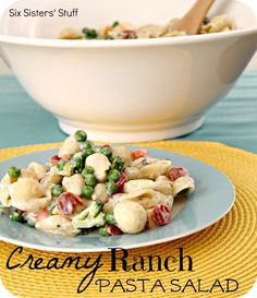 Creamy Ranch Pasta Salad Recipe - I made this before and my family likes it - also a good dish to take to a potluck.