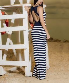 Take a look at this Navy Back-Cutout Maxi Dress on zulily today!
