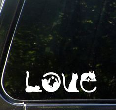 """CAR - Cats Spell LOVE - Car Vinyl Decal Sticker - © YYDC (6""""w x 2""""h) (Color Choices)"""