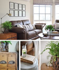 I LUUUUURVE this womens ENTIRE house......Cottage Country Living Room with Brown Leather Sofas | The Painted Hive