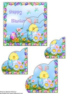 Easter Chick with Bunny Ears  on Craftsuprint designed by Barbara Alderson - quick card front with pyramid corners for Easter - Now available for download!