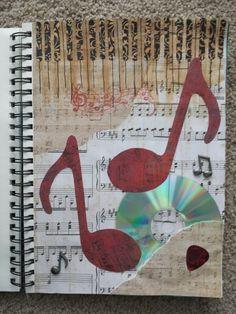 My art journal. Cheyenne Hart. Music notes, scrapbook paper, cd, guitar pick, music stamp