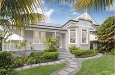 Lovely verandah and pathway at this Queenslander house. I also love the exterior paint scheme. – Home Renovation Exterior Paint Schemes, Best Exterior Paint, Exterior Paint Colors For House, Paint Colors For Home, Exterior Colors, Exterior Design, Paint Colours, Grey Exterior, Cottage Exterior