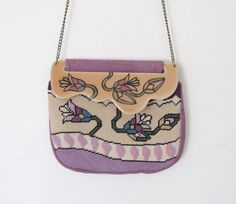 SOLD / #Vintage 1980s Patricia Smith Moon Bag / Lavender Suede / Floral Needlepoint / Hand Painted Purse by VelouriaVintage on Etsy #PatriciaSmith #MoonBag