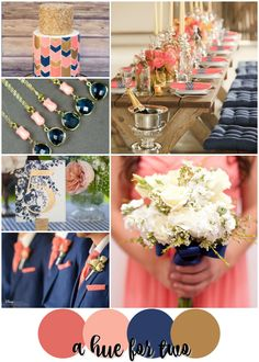 Coral, Peach, Navy and Gold Summer Wedding Colour Scheme - Wedding Colors - Wedding Blog - A Hue For Two | www.ahuefortwo.com