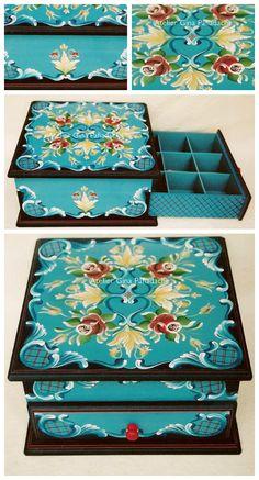 Atelier Gina Pafiadache: Caixa azul turquesa com preto!