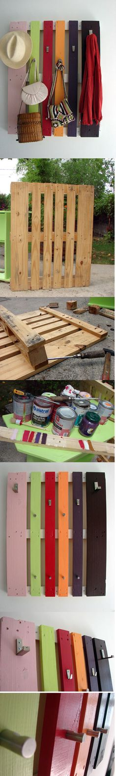 colorful diy coat rack from a pallet from www.shelterness.com #pallet #diy