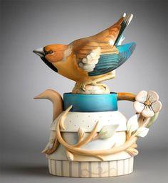Hawfinch teapot by Annette Corcoran