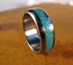 Titanium Wedding Ring Titanium with Turquoise Ring by robandlean LOVE it square radiant cut wedding rings - fashion wedding rings PERFECT! Baguette Diamond Rings, Unique Diamond Rings, Halo Diamond Engagement Ring, Unique Rings, Engagement Rings, Titanium Jewelry, Titanium Wedding Rings, Titanium Rings, Bling Bling