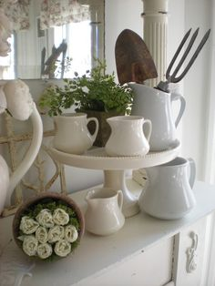 Cottage Chic Spring Mantel Inspiration... ironstone, ferns, and moss