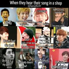 when they hear their song in a shop -- haha Lay, listen to my lovely voice