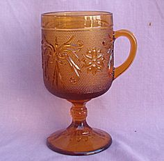 Tiara Glassware Price List | TIARA SANDWICH GLASS AMBER FOOTED MUG (Tiara Glassware) at Neeley's ...
