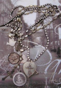 Wishin'and Hopin' Antique Mother of Pearl Rosary by angels9, $99.00