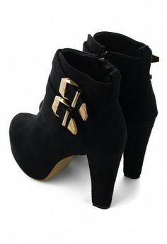 Buckled Platform Heel Ankle Boots
