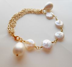 Isabel coin pearl gold chain bracelet dainty bridal bracelet bridesmaid gift white wedding jewelry gemstone womens bracelet June birthestone by Gemjewelryandmore on Etsy