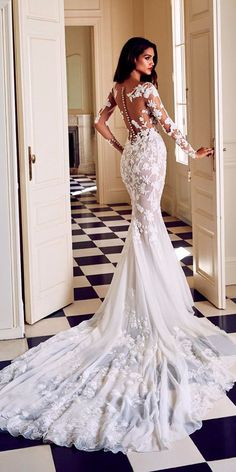 36 Lace Wedding Dresses That You Will Absolutely Love ❤ lace wedding dresses mermaid lace illusion backless long sleeves pronovias ❤ See more: http://www.weddingforward.com/lace-wedding-dresses/ #weddingforward #wedding #bride