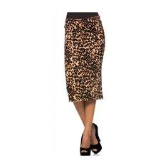 Cheetah Print Pencil Skirt ($35) ❤ liked on Polyvore featuring skirts, cheetah skirt, elastic waist skirt, knee length pencil skirt, brown skirt and cheetah pencil skirt