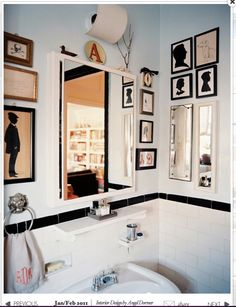silhouettes and lion's head towel ring; monogrammed hand towel; skull n crossbones; black ribbon on picture; initial A; colors  #ideas for bathroom/powder room