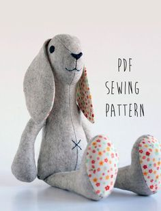 Rabbit sewing pattern, sew your own soft toy Bunny - instant download pdf…
