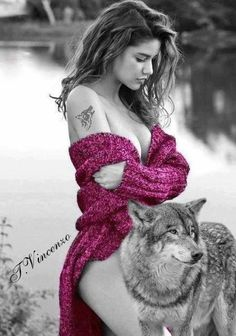 Wolves And Women, Wolf Quotes, Wolf Spirit, Wolf Girl, Digital Art Girl, Color Splash, Fantasy, Tattoos, Girls