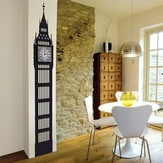 Neat Big Ben Wall sticker clock in black by Funky Little Darlings and available for purchase at Not on the High Street in the UK for 120 British pounds (1/2)