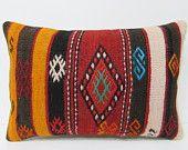 kilim pillow homegrown 16x24 black decorative pillow orange throw pillow medallion pillow kelim rug chevron pillow case ethnic design 23239
