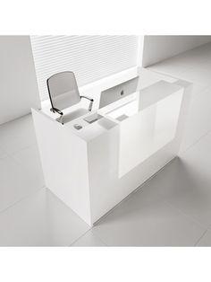 TERA Medium Reception Desk w/Light Panel, White Pastel by MDD Office Furniture
