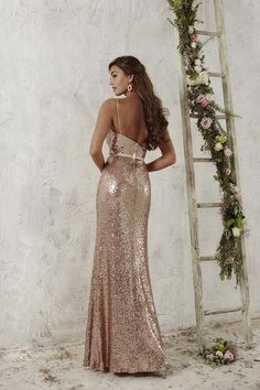 Balletts Bridal - 22905 - Bridesmaids by Jacquelin Bridals Canada - This full-length sequined gown is accompanied by an attached ribbon belt and topped by a cowl neckline, held by dainty spaghetti straps. Pictured In: Rose Gold