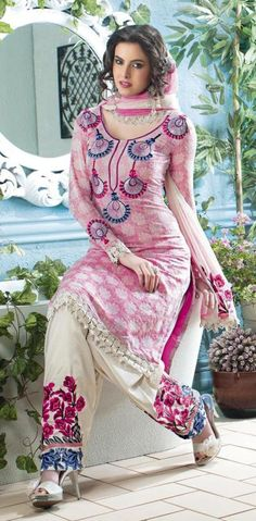 Pink Full Sleeve Cotton Knee Length Punjabi Salwar Kameez 18583