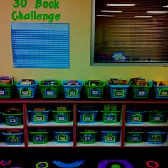 Love this classroom library with its blue, green and yelow theme. I wonder how that 30 book challenge went.
