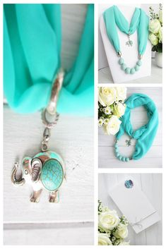 Turquoise Scarf Necklace with elephant pendant Wire Jewelry Rings, Diy Jewellery, Pendant Jewelry, Jewelry Necklaces, Handmade Jewelry, Jewelry Making, Scarf Necklace, Fabric Necklace, Scarf Jewelry