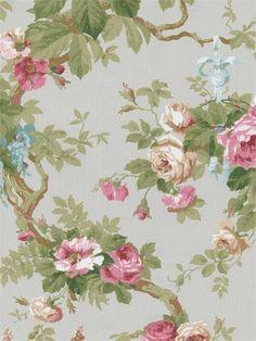 Silver Wisteria Floral Wallpaper - Traditional Wallpaper
