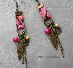 Boucles d'oreilles créateur bronze, Fuchsia en Liberty