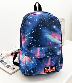 e74e7352ba57 free shipping Women Galaxy Stars Universe Space printing backpack School  Book Backpacks British flag Stars bag