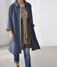 Open thin denim cotton single breasted Long shirt by MaLieb, $66.00