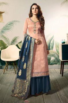 Look delightfully charming wearing this Jasmin Bhasin Peach Colored Heavy Embroidered, Saroski Diamond Neck & Hand Work Modal Satin Silk Sharara Suit. Pakistani Dress Design, Pakistani Suits, Pakistani Dresses, Indian Dresses, Indian Outfits, Pakistani Sharara, Punjabi Suits, Silk Anarkali Suits, Sharara Suit