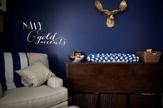 navy + gold boy nursery by love & lion