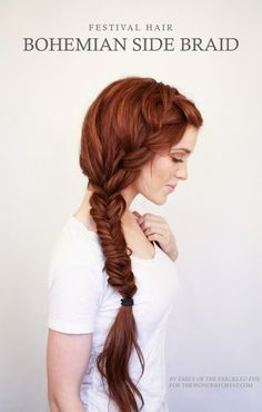 Beautiful color!!!  Bohemian Side Braid Festival Hair Tutorial Will I ever be able to do this with my hair? Nope...