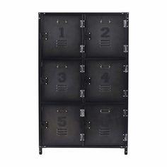 Cabinet indus 6 casiers en métal L 75 cm - Andrews