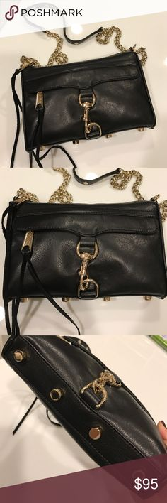 Rebecca Minkoff black mini mac bag Perfect condition Rebecca Minkoff black leather with gold hardware mini mac bag. Includes dust bag. Barely used - looks brand new. (It is stuffed with tissue paper in the pictures so may appear lumpy but it is in great condition) Rebecca Minkoff Bags Crossbody Bags