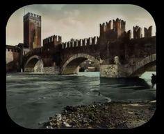 Verona, Ponte Scaligero: vetro da proiezione della serie del Grand Tour appartenente alla Collezione Minici Zotti
