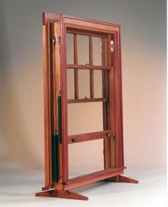 Custom Double Hung Window in Mahogany, True Divided Lights, Weight and Pulley Counterbalance, Bronze Weatherstripping, Brass Hardware. If properly maintained this window will last 100 years or more! Wooden Sash Windows, Wooden Window Frames, Wooden Doors, Double Hung Windows, Old Windows, Windows And Doors, Woodworking Outdoor Furniture, Woodworking Plans, Woodworking Projects