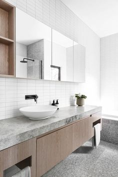The Bathroom. Pure style and luxury! Love how the cabinetry works so well with the tiles and colour palette. Bathroom Toilets, Bathroom Renos, Grey Bathrooms, Beautiful Bathrooms, Modern Bathroom, Small Bathroom, Master Bathroom, Ensuite Bathrooms, Basin Sink Bathroom