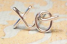 """Cartilage Earring, xo """"hug & kiss"""" Earring, Sterling Silver or Gold Filled, CUSTOM names - FREE toe ring with order"""