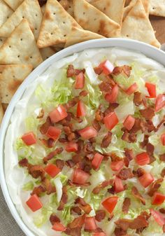 Easy BLT Dip – No mystery about what's in this party dip! Bacon, iceberg lettuce, and tomatoes. Layer them onto softened cream cheese and this appetizer recipe is as delicious as you'd imagine.