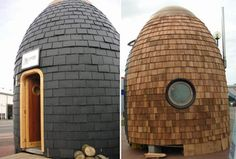 Eco-pod house: A recycled car tyre-tiled complete eco friendly house. This tiny house called the Eco-pod house is designed by Aidan Quinn who . Eco Pods, Aidan Quinn, Rainwater Harvesting System, Water From Air, Tire Art, Tyres Recycle, Recycled Tires, Water Resources, Eco Friendly House