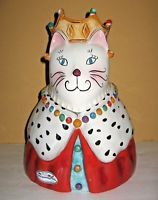"""Clay Art"""" Queen Kitty"""" Cat Cookie Jar Hand Painted  2004"""